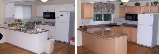 Check These Before And After Photos Of An Actual Dalco Refacing Project OR  See The Transformation On Our YouTube Video Page.